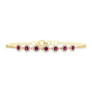 0.73 TCW 14K Yellow Gold Natural Round Diamond Red Ruby Gemstone Bracelet