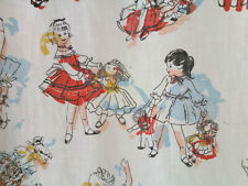 Vintage little girls dolls mid century 50s fabric cotton curtains drapes panels!