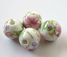 30pcs 10mm Round Porcelain/Ceramic Beads - White / Pale Pink Peony Flowers