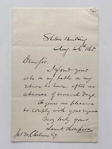 Launt Thompson 1865 Letter Civil War Memorial Sculptor Sculpture American Artist