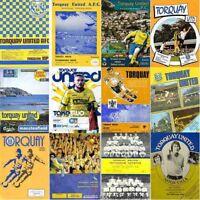 Programme Torquay United Football Home Programmes 1981-82 Various (Plainmoor)