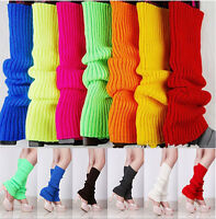 Women Ladies Party Legwarmers Knitted Neon Dance Costume Solid Color Leg Warmers