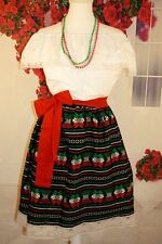 GIRLS  2 PIECE MEXICAN DRESS/PEASANT BLACK 7-8 YEARS OLD/ADELITA/CAMBAYA(B8-8)