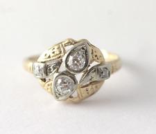 Vintage Art Deco Diamond Engagement Ring 14k Yellow & White Gold Size 5