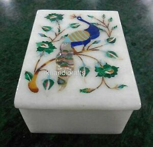 6 x 4 Inches Beautiful Peacock Art Jewelry Box White Marble Watch Box for Sister