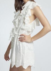SHONA JOY Antigua White Embroidered Ruffle Lace Up Playsuit Romper Size 10 EUC