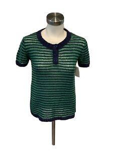 J. Crew Blue Green Striped Short Sleeve crew Neck Sweater, Size XS