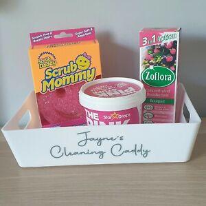 Mrs Hinch Personalised Storage Caddy Gift Set: Scrub Mommy, Zoflora & Pink Stuff