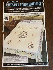 Vintage Paragon Single crewel bedspread Kit-Jacobean Look On Belgian Linen