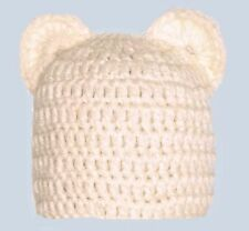 CROCHET CHUNKY TEDDY BEAR BEANIE HAT beige photography prop new outfit ears boy