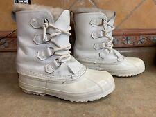 Vintage Womens White SOREL Sz 8 Fur Trim Winter Snow Boots Removable Liners