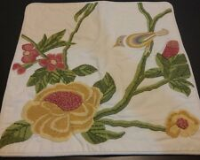 """Pottery Barn Embroidered Bird Floral Decal Pillow Cover 18"""" Square New"""