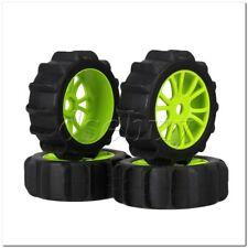 RC1:8 Off Road Car Rubber Beach Tire& Green Plastic 12-Spoke Wheel Rim Pack of 4