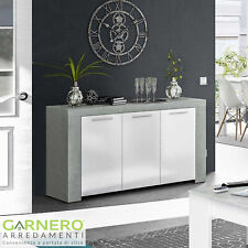 Credenza moderna Zante bianco/cemento 3 ante soggiorno design ripiani offerta