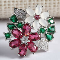 Exquisite Jewelry 925 Silver Multi-Color Gemstone Flower Wedding Ring Size6-10