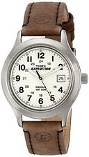 NEW Timex Mens T49870 Expedition Metal Field Watch with Brown Leather Band