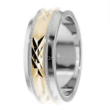 Mens Womens Wedding Bands Rings Two Tone 14K Gold Womans Mans Two Tone Ring Set