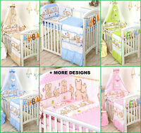 5 PC CUDDLED TEDDY BEAR NURSER BABY COT /COT BED SET - BABY GIRL BOY+MORE DESIGS