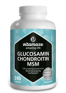 (€9,56 /100g) Glucosamin + Chondroitin + MSM 240 Kapseln 2 Monatskur hochdosiert