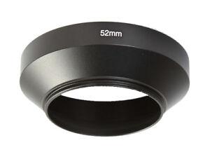 52mm Black Metal Wide Angle Screw in Lens Hood 52mm Thread - UK SELLER