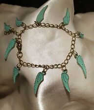 STEAMPUNK Edwardian, Charm Bracelet, Antique Gold & Turquoise Wings, Egyptian
