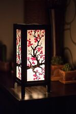 Asian Vintage Style Paper Bedside Table Lamp Decor: Sakura Japanese Plum Blossom