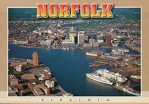 Norfolk, Virginia, Scope Sports Arena, Cruise Ship, Naval Town, Yard -- Postcard