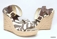New Michael Kors *VIOLET* Espadrille Wedge Platform Ankle Sandal Zebra/Brown 8.5