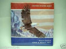 US MINT BALD AMERICAN EAGLE SILVER DOLLAR COIN & MEDAL SET, SEALED