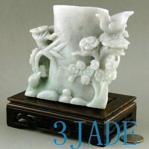 A Grade Natural Jadeite Jade Bird Flower Pen Holder/Carving /Sculpture certified