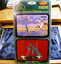 Schrade + 285UH Pro Trapper Ducks Unlimited Series Knife W/Decorative Tin,Papers