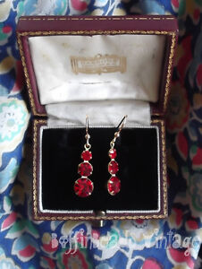 Vintage RED EARRINGS sparkly scarlet faceted cut glass Rhinestones  evening wear