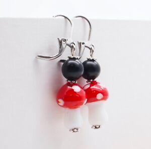 Mushroom Beaded Earrings (Stainless Steel Hooks) - Free Shipping