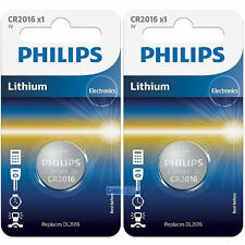 2 x Philips CR2016 3V Lithium Button Battery Coin Cell DL2016 for Car Key Fobs