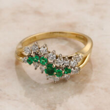 Emerald and Diamond 18ct Yellow Gold Graduated Ring Size O 1/2