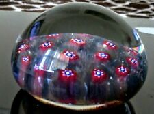 UNUSUAL COLOR VINTAGE ART GLASS MILLEFIORI PAPERWEIGHT