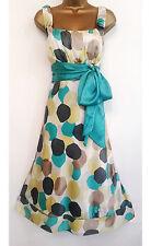 MONSOON ✩ STUNNING BELLA SPOTTED SILK COCKTAIL DRESS ✩ TEAL & LEMON ~ UK SIZE 12