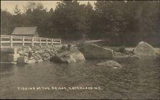 Green Lake ME Fishing at the Bridge c1920 Real Photo Postcard