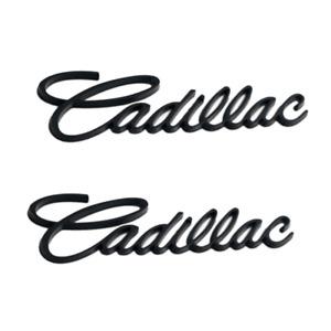 2x Matte Black Cadillac Car Rear Trunk Lid Emblem for ATSL Escalade DeVille CTSV
