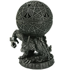 NEW Chained Werewolf Incense Burner Sculpted Resin Lidded Bowl Orb with Vents