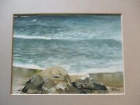 VINTAGE COASTAL PAINTING BEACH SEASCAPE NAUTICAL COASTAL PLEIN AIR BROOKS SIGNED