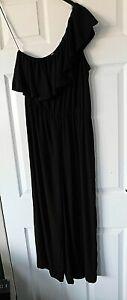 H&M Black One Shoulder Sleeveless Wide Leg Jumpsuit UK 10 EUR 38 BNWT