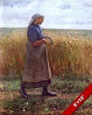 SUMMER HARVEST PREGNANT WOMAN W SICKLE IN WHEAT FIELD PAINTING ART CANVAS PRIN