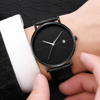 Trendy Men Ultra Thin Minimalist Watch Slim Leather Strap Stainless Steel Quartz