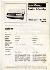 NORMENDE - 6000    STEREO RECORDER  SERVICE INFORMATION  ( ORIGINAL BOOK )