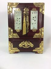 """Vintage Asian Chinese Rosewood Jade Inlay Brass Wood Jewelry Box Chest-8.5"""""""