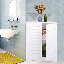 Corner Floor Cabinet Bathroom Storage White 3 Shelves Organizer Furniture Wood