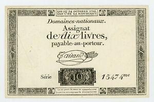 1792 10 Livres France Domaines Nationaux Assignat UNC