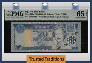 TT PK 107a ND (2002) FIJI 20 DOLLARS QUEEN ELIZABETH II PMG 65 EPQ GEM UNC!