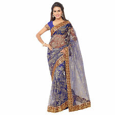 Indian Party Wear Stylish Designer Royal Blue Russell Net Saree With Blouse